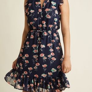Navy Dress with Pink Floral Pattern